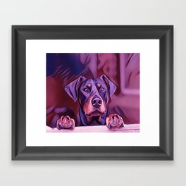 Doberman Looking Out The Window Framed Art Print