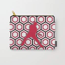 Cherry Red Baseball Player Swinging Bat Carry-All Pouch