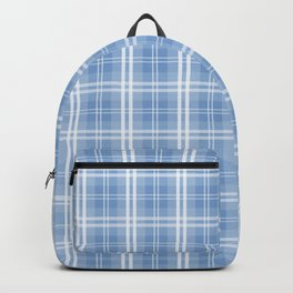 Bright Pastel Blue Tartan Plaid Check Backpack