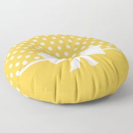 Dots dip-dye pattern with cute bow in yellow Floor Pillow