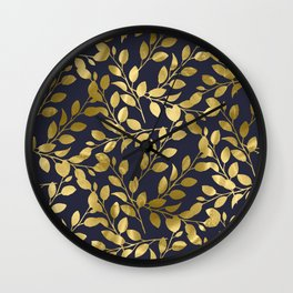 Gold Leaves on Navy Wall Clock