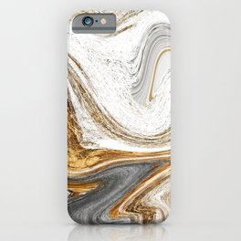 Gold, White, and Gray Abstract Painting iPhone Case