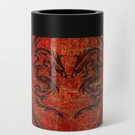 Distressed Dueling Dragons in Octagon Frame With Chinese Dragon Characters Can Cooler