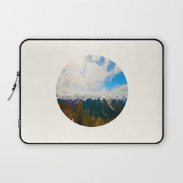 Mid Century Modern Round Circle Photo Snow Covered Mountains Meet Autumn Laptop Sleeve