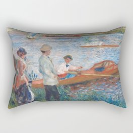 Oarsmen at Chatou Painting by Auguste Renoir Rectangular Pillow