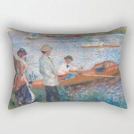 Oarsmen at Chatou Painting by Auguste Renoir Rectangular Pillow