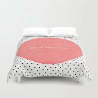 dots Duvet Covers featuring HELLO BEAUTIFUL - POLKA DOTS by Allyson Johnson