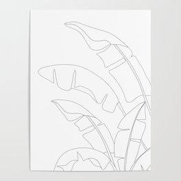 Minimal Line Art Banana Leaves Poster