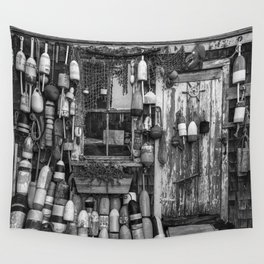 B&W Fishing Shack Wall Tapestry