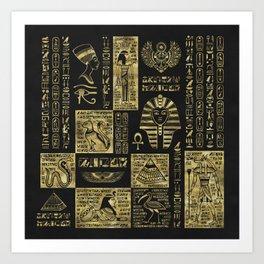 Egyptian  hieroglyphs and symbols gold on black leather Art Print