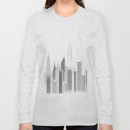 Modern City Buildings And Skyscrapers Sketch, New York Skyline, Wall Art Poster Decor, New York City Long Sleeve T-shirt