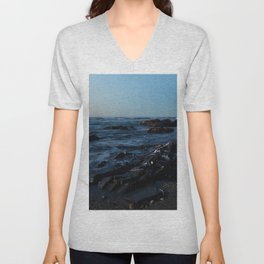 Sea Washes over the Rocks in Spring Unisex V-Neck