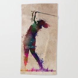 Golf player art 2 Beach Towel