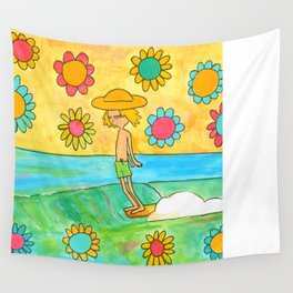 hang 10 groovy surf dude flower power Wall Tapestry