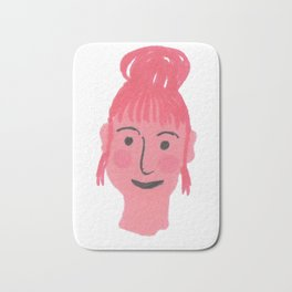 """""""Vicky"""" girl with bun and rosy cheeks Bath Mat"""
