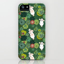 Rabbits in a Succulent Garden iPhone Case