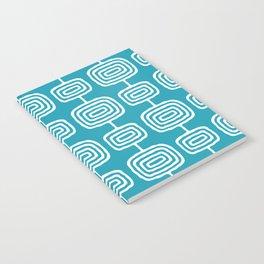 Mid Century Modern Atomic Rings Pattern Turquoise Notebook