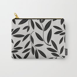 Black and White Plant Leaves Pattern Carry-All Pouch
