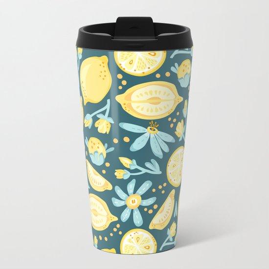 Lemon Pattern Green Metal Travel Mug