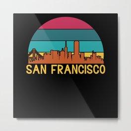 San Francisco, California Retro Metal Print