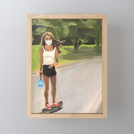 Social Distancing on Skateboard Framed Mini Art Print