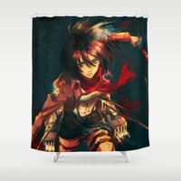 alicexz Shower Curtains featuring Worth a Hundred Soldiers by Alice X. Zhang