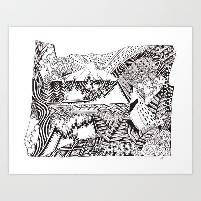 Oregon in Ink Art Print