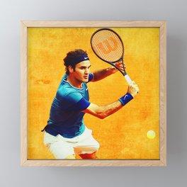 Roger Federer Tennis On Clay Framed Mini Art Print
