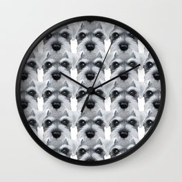 Schnauzer pattern-Grey Dog illustration original painting print Wall Clock