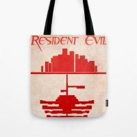 resident evil Tote Bags featuring Resident Evil by JackEmmett