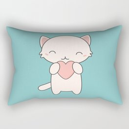Kawaii Cute Cat With Hearts Rectangular Pillow