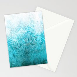 Fade to Teal - watercolor + doodle Stationery Cards