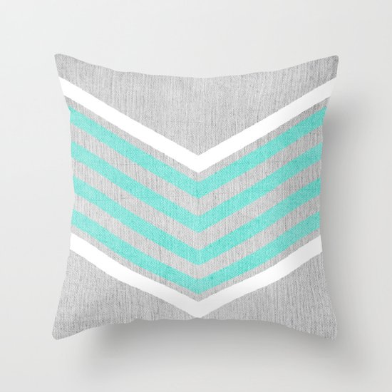 teal and white chevron on silver grey wood throw pillow by tangerine tane society6. Black Bedroom Furniture Sets. Home Design Ideas