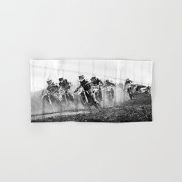 Motocross black white Hand & Bath Towel