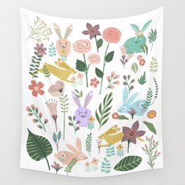 Springtime In The Bunny Garden Of Floral Delights Wall Tapestry