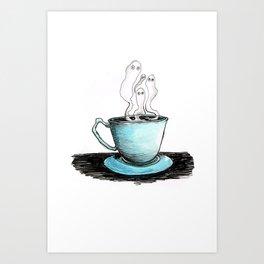 Spooky Teacup Art Print
