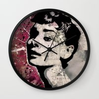 audrey Wall Clocks featuring Audrey by f_e_l_i_x_x