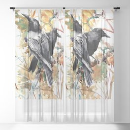 Ravens in the Fall, raven wall art Sheer Curtain