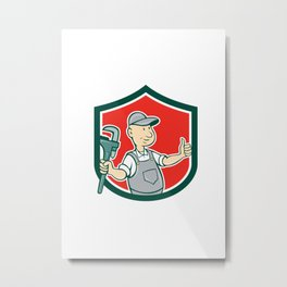 Plumber Monkey Wrench Thumbs Up Shield Cartoon Metal Print