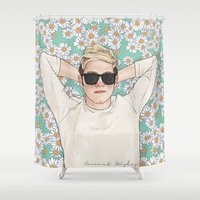 coconutwishes Shower Curtains featuring Niall daisies field by Coconut Wishes