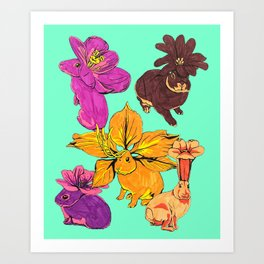 Flower Bunnies Art Print