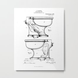 Toilet Water Closet Vintage Patent Hand Drawing Metal Print