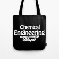 engineer Tote Bags featuring chemical engineer by Be Raza