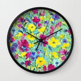 Wild Garden Aqua Wall Clock