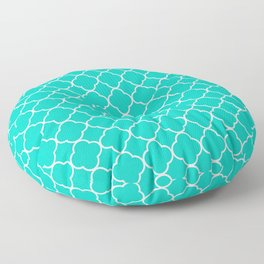 Aqua Blue Quatrefoil Clover Pattern Floor Pillow