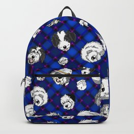 Navy Plaid Furbaby faces Backpack