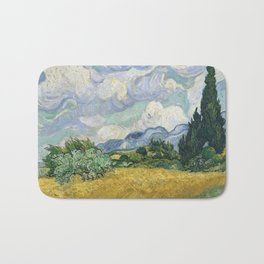 Wheat Field with Cypresses by Vincent van Gogh Bath Mat