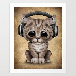 Cute Kitten Dj Wearing Headphones Art Print