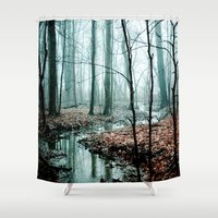 gray Shower Curtains featuring Gather up Your Dreams by Olivia Joy StClaire