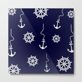 Nautical Navy Pattern with Anchors and Steering Wheels Metal Print